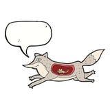 loup de bande dessinée avec la souris dans le ventre avec la bulle de la parole Photos stock