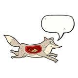 loup de bande dessinée avec la souris dans le ventre avec la bulle de la parole Photographie stock