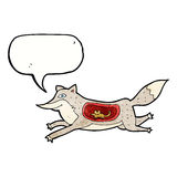 loup de bande dessinée avec la souris dans le ventre avec la bulle de la parole Images libres de droits