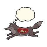 loup de bande dessinée avec la souris dans le ventre avec la bulle de pensée Image stock