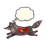 loup de bande dessinée avec la souris dans le ventre avec la bulle de pensée Photos stock