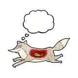 loup de bande dessinée avec la souris dans le ventre avec la bulle de pensée Photo stock