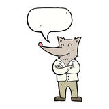 loup de bande dessinée dans la chemise avec la bulle de la parole Photos libres de droits