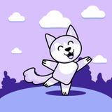 Loup de danse sur la pelouse illustration stock
