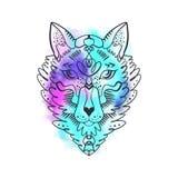 Loup de totem ou renard, illustration hippie de boho pour des croquis des tatouages Style du nord, autocollant Art Antistress illustration libre de droits