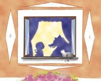 Loup et capot d'équitation rouge Images stock
