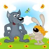 Loup et lièvres jouant le cache-cache Image libre de droits