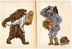 Loup-garou et sorcière de midi - un vecteur tiré par la main Photo stock