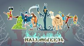 Loup-garou réglé de faucheuse de la mort de Ghost de vampire de zombi de collection de monstres de Halloween illustration libre de droits