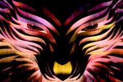 Loup rougeoyant puissant multicolore artistique de Digital de résumé illustration stock