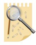 Loupe на листе блокнота Иллюстрация вектора