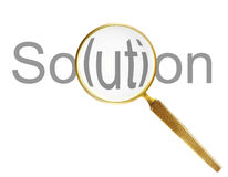 Loupe. Lupe with solutions text over white background Royalty Free Stock Photo