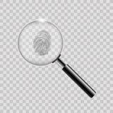 Loupe avec l'empreinte digitale sur le fond transparent Vecteur illustration libre de droits