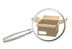 Loupe and boxes Royalty Free Stock Photos