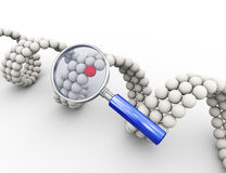 loupe 3d et élément moléculaire unique d'ADN Photos stock