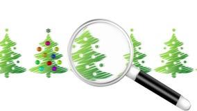Loupe de recherche pour l'arbre de Noël illustration libre de droits