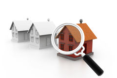 Loupe en rij van huizen die op witte achtergrond wordt geïsoleerd= Vector Illustratie