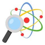 Loupe et Atom Flat Icon sur le blanc Image libre de droits