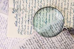 Loupe et lettres de vintage Photo stock