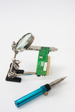 Loupe with gas soldering iron Stock Photos