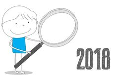 Loupe holding boy to 2018, cartoon style illustration. Boy holding a loupe glass at 2018, hand drawn cartoon style illustration sketch Stock Image