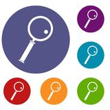 Loupe icons set. In flat circle red, blue and green color for web Stock Photos