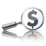 Loupe Lustrzany dolar Fotografia Stock
