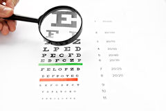 Loupe magnifier and chart at white background Royalty Free Stock Photos