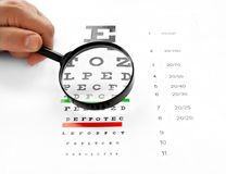 Loupe magnifier and chart at white background Royalty Free Stock Photography