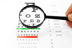 Loupe magnifier and chart at white background Stock Photo