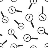 Loupe with minus sign seamless pattern background. Business flat. Vector illustration. Magnifier search sign symbol pattern Royalty Free Stock Image