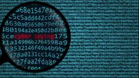 Loupe ontdekt woorden cyber spionerend op het computerscherm Veiligheid het verwante onderzoek conceptuele 3D teruggeven Royalty-vrije Stock Afbeeldingen