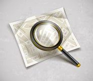 Loupe powiększać - szkła narzędzie z ulica papieru mapą Obrazy Stock