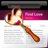 Loupe recherchant le descripteur de site Web d'amour Image libre de droits