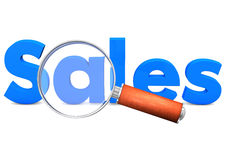 Loupe Sales. Small loupe with blue text Sales. White background Royalty Free Stock Photos