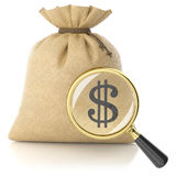Loupe search dollar sign on rag bag with money Stock Photography