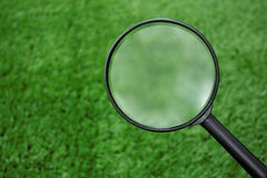 Loupe searching on grass Royalty Free Stock Photo