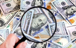 Loupe sur l'argent photos libres de droits