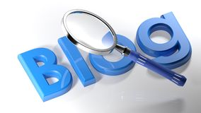 Loupe sur le blog bleu - rendu 3D Images libres de droits