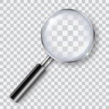 Loupe transparente brillante réaliste de vecteur avec l'ombre d'isolement sur le fond transparent - analyse, recherche, explorati