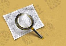 Loupeförstoringsglaset bearbetar med kartlägger Arkivbild