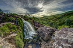 Loupen av den Fintry vattenfallnorden av Glasgow Scotland Royaltyfria Bilder