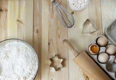 Lour, Eier, alle für geschmackvolle Plätzchen liebhaberei Kochen, Weihnachten stockfotografie