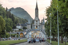 Lourdes candle procession. In front of the main basilica of Lourdes Royalty Free Stock Photo