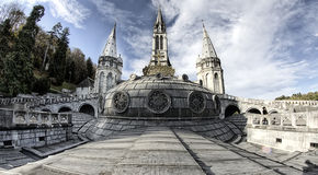 Lourdes cathedral 2. Beautiful view of the cathedral Notre Dame in Lourdes (France), a place full of pray Royalty Free Stock Photography