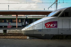 LOURDES, FRANCE - AUGUST 22, 2006: French High Speed train TGV Atlantique ready for departure on Lourdes station platform. Royalty Free Stock Images