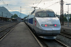 LOURDES, FRANCE - AUGUST 22, 2006: French High Speed train TGV Atlantique ready for departure on Lourdes station platform Stock Photography