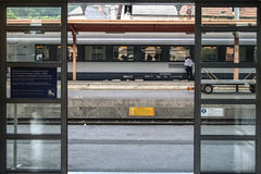 LOURDES, FRANCE - AUGUST 22, 2006: Regional train ready for departure on the platform of Lourdes train station, in the Pyrenees Stock Photos