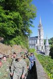 Croatian soldiers at millitary pilgrimage in Lourdes, France. Lourdes,France - 05.15.2014: Croatian soldiers at millitary pilgrimage in Lourdes, France Royalty Free Stock Photo