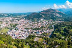 Lourdes small town in France. Lourdes aerial panoramic view. Lourdes is a small market town lying in the foothills of the Pyrenees royalty free stock photography